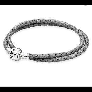 Authentic Pandora Leather Bracelet - Gray